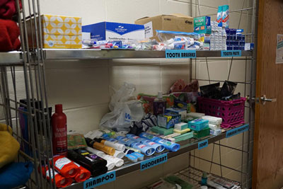 Personal Hygiene and non-perishable food items fill the shelves of the Central Closet in Hastings.