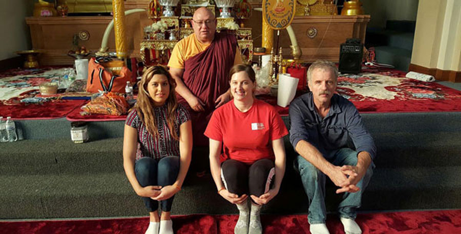 Human services students in the multicultural counseling class visit Wat Lao Buddhametta Phaaphayaram, a Buddhist temple in Grand Island.